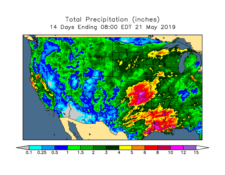 14 day precipitation estimate